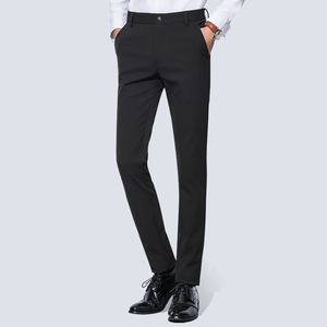 Image 5 - Mens Wrinkle Free Casual Stretch Solid Trouser Pant Flat Front Slim Straight Fit Summer Thin Dark Blue Business Dress Pants