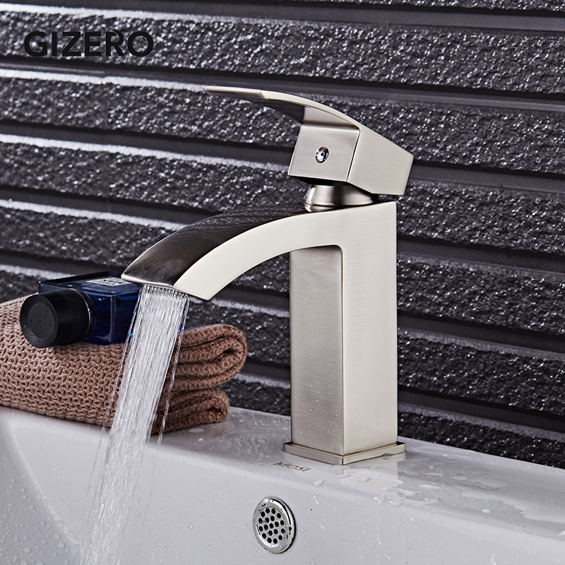 Brush Basin Faucets Waterfall Style Bathroom Hot And Cold Sink Mixer Deck Mounted Wash Vanity Vessel Taps ZR706