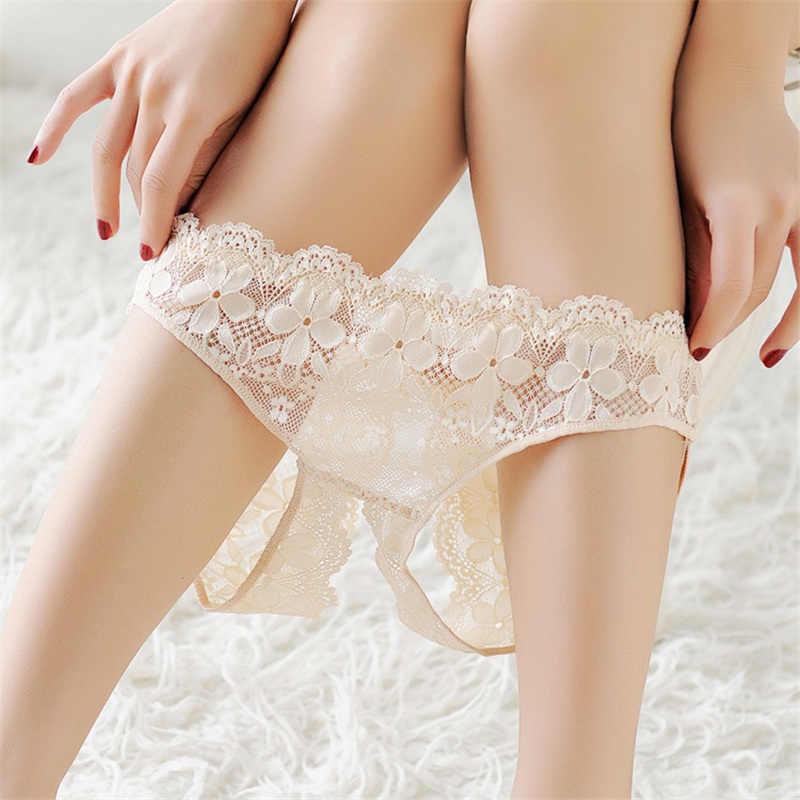 Seksi Renda Crotchless Panties Menggoda Wanita Celana Terbuka Selangkangan Rendah Pinggang Pakaian Wanita Transparan Seksi Panty Lucu Pakaian Dalam
