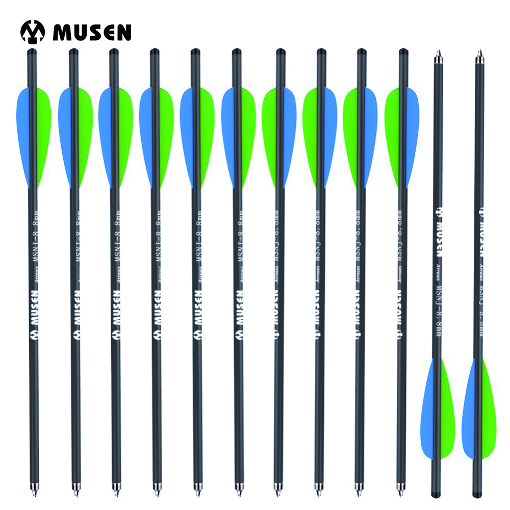 12/24pcs 20 Inches Crossbow Carbon Arrow Target Arrows with 125 Grain Crossbow Arrow Broadheads 2 Blue 1 Green Feather Hunting