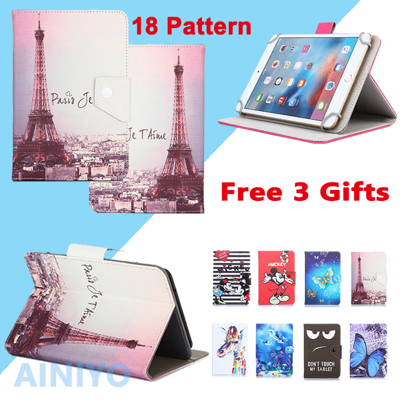 Universal Case For Irbis TX58 10.1 inch Tablet PU Leather Cartoon Cover Case + free 3 GIFTS new 7 inch 7inch oysters 7x 3g tablet pc lcd display lcd screen digitizer sensor replacement free shipping