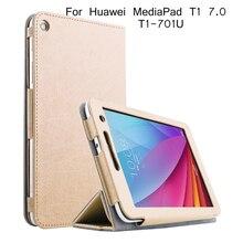 Soporte plegable del tirón del cuero case para huawei t1-701u case tablet cubierta de la pc para huawei t1 7.0 t1-701u case + screen Protector