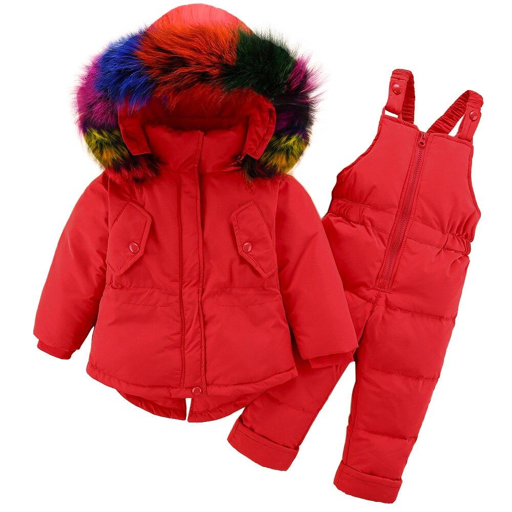 GemäßIgt Winter Baby Mädchen Der Ente Unten Jacken Warme Mädchen Ski Anzug Sets Kinder Im Freien Down & Parkas Pelz Unten Mäntel + Hose/overall Fein Verarbeitet