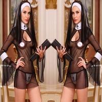 2016 New Sexy Costume Women Cosplay Nuns Uniform Transparent Sexy Lingerie Exotic Nun Halloween Costumes Dress