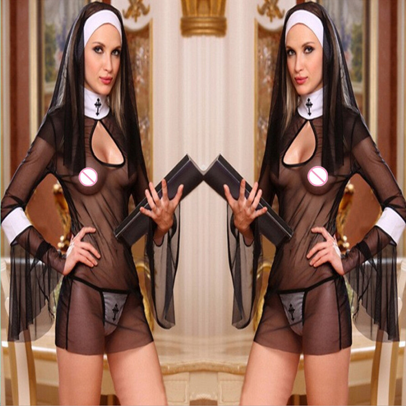 2017 Black Nun Costumes Dress Babydoll Cosplay Uniform Transparent Sexy Lingerie Exotic Outfit Clothing Long Trumpet Sleeve