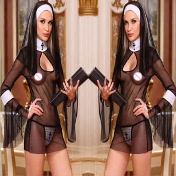 2017 Black Nun Costumes Dress Babydoll Cosplay Uniform Transparent Sexy Lingerie Exotic Outfit Clothing Long Trumpet Sleeve - sale item Exotic Apparel
