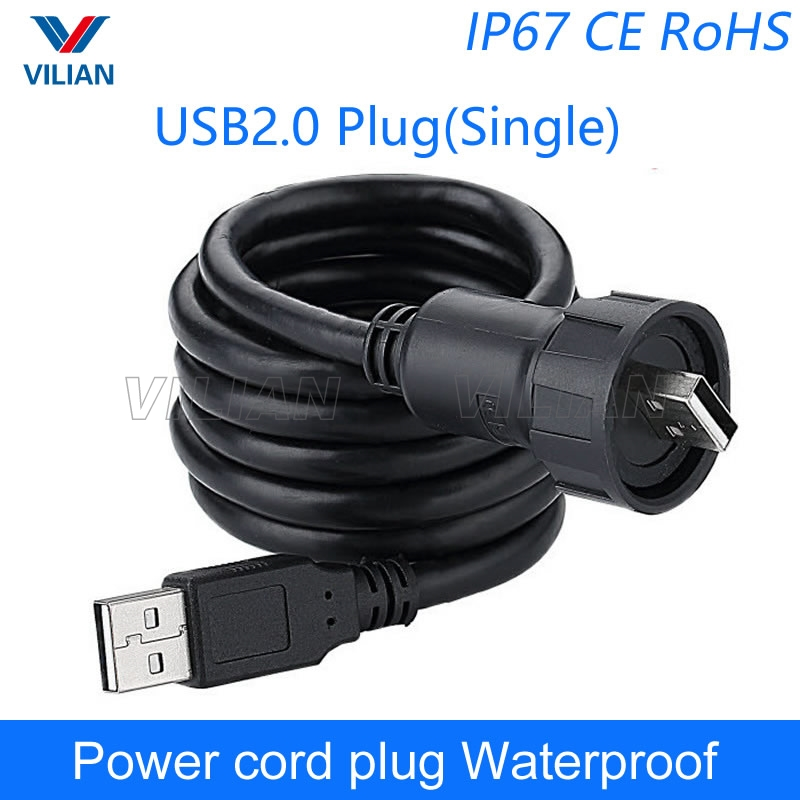 USB 2.0 Connector Metal Female Socket Panel Mount M20.8mm Data Transfer Dual USB Port Outdoor Waterproof M20 for Industrial Equipment