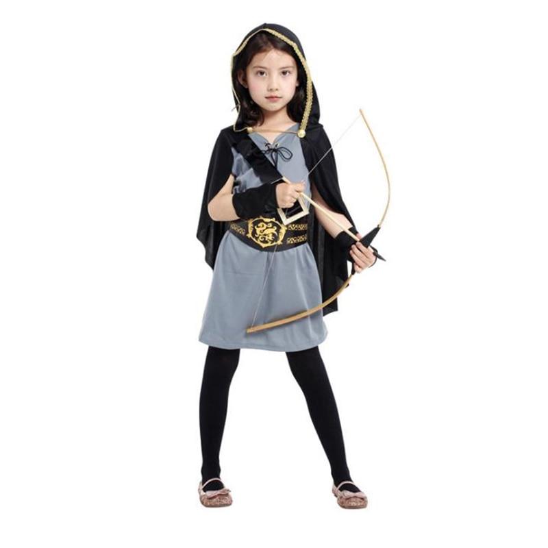 Halloween Kids Girls Pirate Costume Girls Forest Hunter Pete Crusaders Child' Anime Cosplay Fancy Dress Heroic Female Warrior