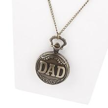 Men's Antique Bronze Retro Vintage DAD Pocket Watch Quartz With Chain Gift Promotion