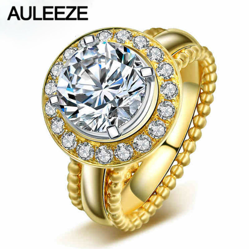 2CT Moissanites Engagement Ring Round Cut Lab Grown Diamond Ring Solid 585 Gold 14K Yellow Gold Wedding Rings For Women Jewelry aeaw lab grown diamond moissanites engagement bangle solid 10k white gold bracelets for women wedding fine jewelry