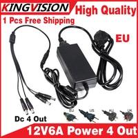 Haute Qualité adaptateur d'alimentation 12V6A 4 out AC/DC Adaptateur 100 V-240 V Convertisseur Adaptateur D'alimentation Plug à 4 Male Power Splitter