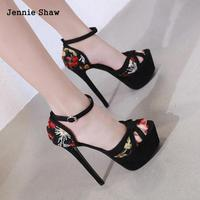 17 Cm Heel High Women's Shoes Night Shop Rome Sandals Floral Embroider Ladies Sandals