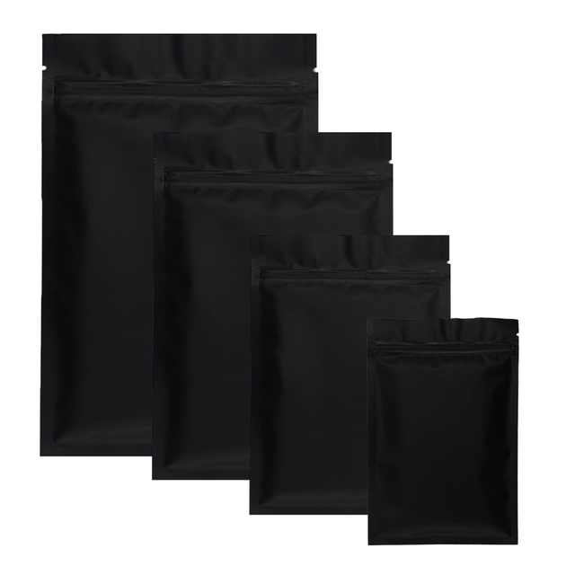 4626431d35e0 US $8.98 |Custom Logo Acceptable 100pcs Matte Black Small Aluminum Foil Zip  Lock Plastic Bags Herb Powder Heat Sealable Flat Ziplock Bag-in Storage ...