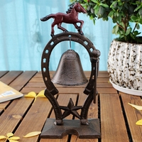 European Vintage Horse with Red Painted Tabletop Decor Cast Iron Hand Knocking Bell Dinner Service Bell