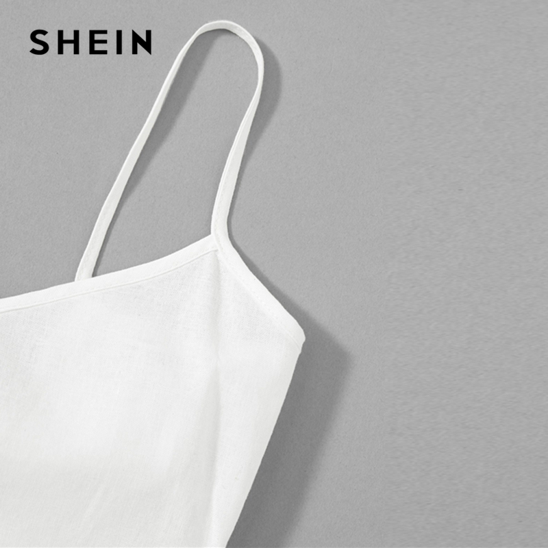 Image 4 - SHEIN White Solid Girls Button Up Front Cami Jumpsuit Children 2019 Spring Fashion Sleeveless Casual Jumpsuits For Kids Girls-in Overalls from Mother & Kids