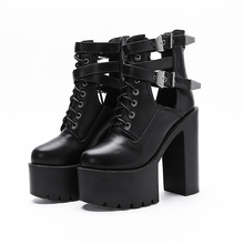 2019 new fashion ankle boots for women high platform shoes leather martin heels tie cross