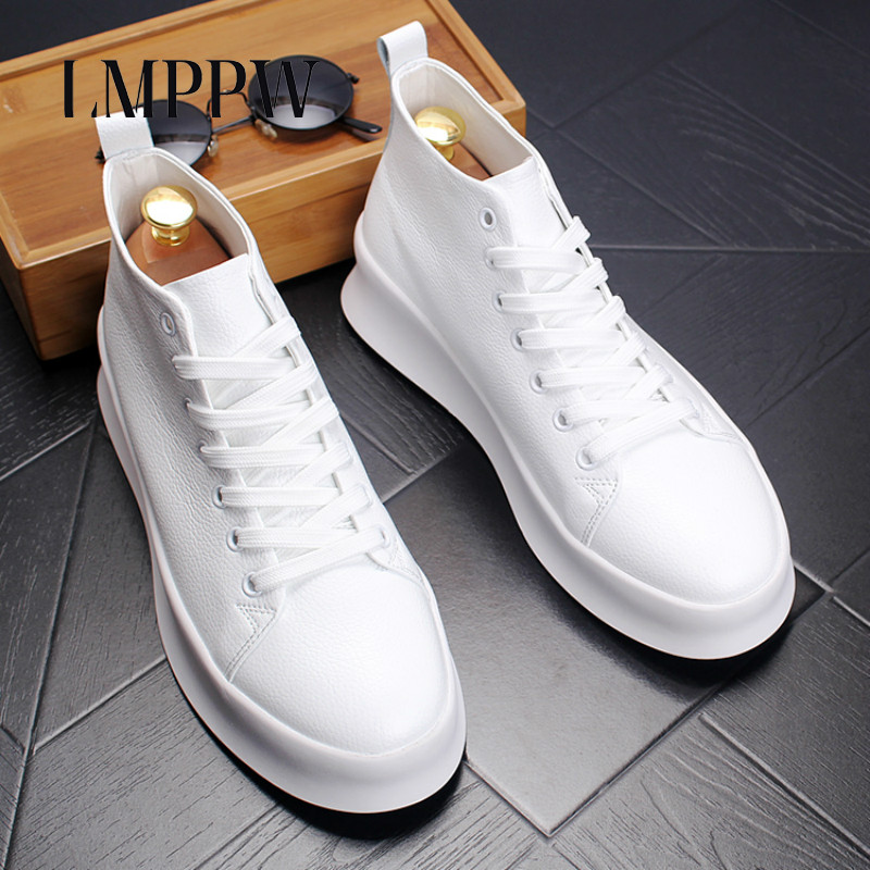 Top Quality Autumn Mens Casual Shoes Men High Top Shoes Fashion Lace Up Leather Casual Shoes Black White Red Men Flat Boots 2A high quality full grain genuine leather women motorcycle ankle boots 2016 black white lace up fashion ladies flat casual shoes
