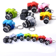 Cute Mini Digital Single Lens Reflex DSLR Camera Style LED Flash Light Torch Shutter Sound Keychain(China)