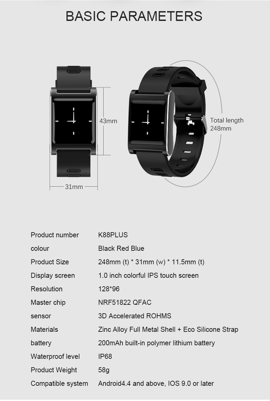 Volemer K88 plus Smart Band Blood Pressure Heart Rate Monitor Bracelet Color Display IP68 Waterproof Fitness Tracker Wristband (14)