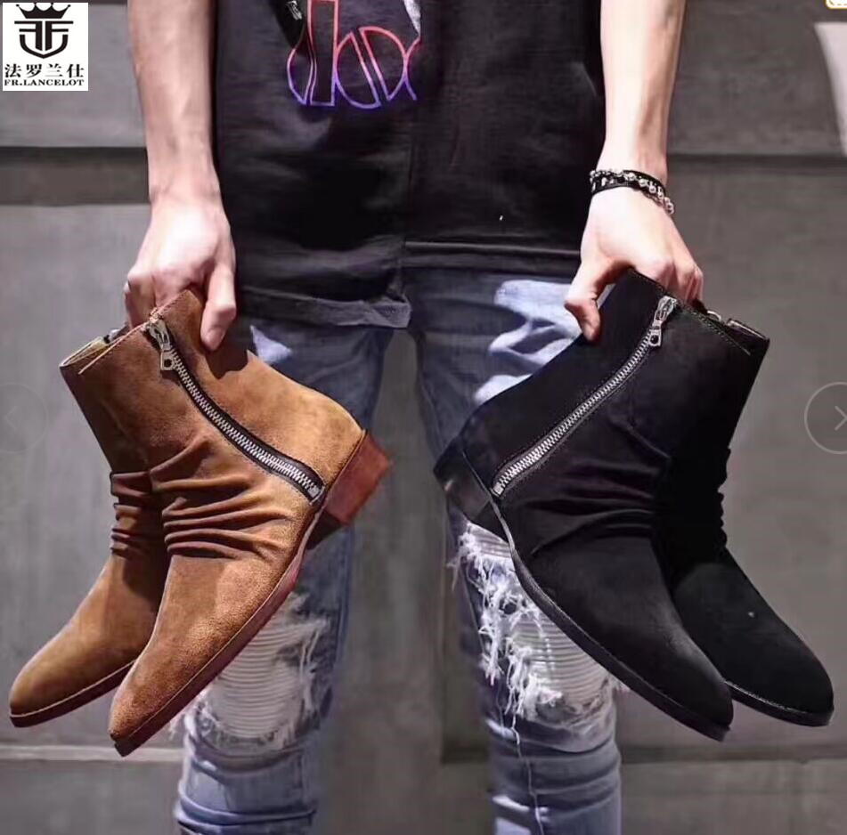 FR.LANCELOT New arrival 2019 boots men leather boots gentlemen Suede Leather ankle booties ancient style zip up low men boots