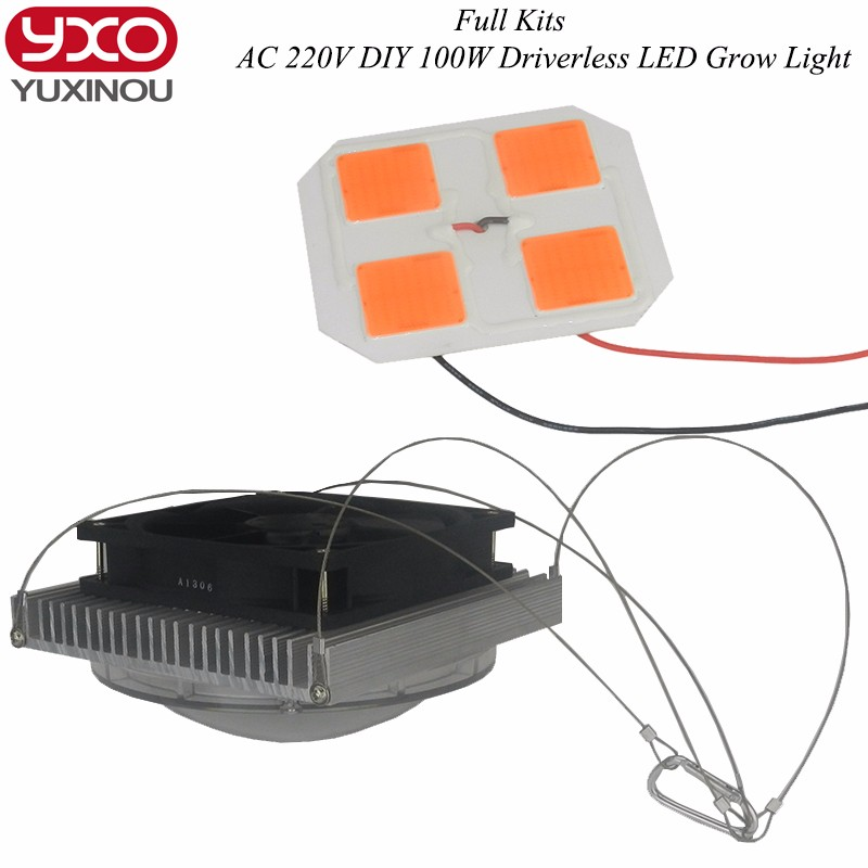 50w 100w led Grow light Led+lens+heat Sink+aluminum Cooling Fan Full Spectrum Diy Led Light Kits for grow plants
