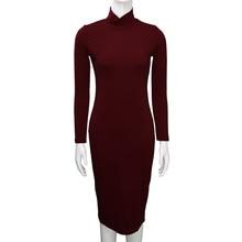 aad605ad4d1 Chic femmes robe travail porter décontracté col roulé solide à manches  longues genou-longueur dames robe lâche robe de soirée co.
