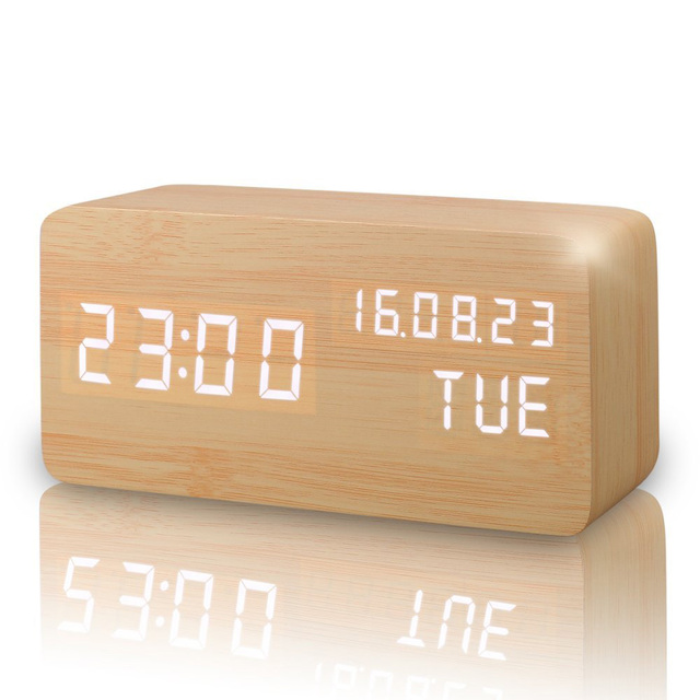 LED Cube Wooden Clock Voice Control Electronic Desk Table Clock LED Digital Watch Nixie no Radio For Kids Bedside Alarm Clock