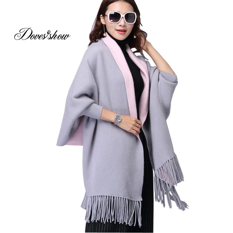Camisolas Jaqueta Casaco Grosso casaco Longo de Lã das mulheres Ponto Aberto Borla Xale Casaco Senhoras Moda Casual Solto Outono Inverno Jaqueta