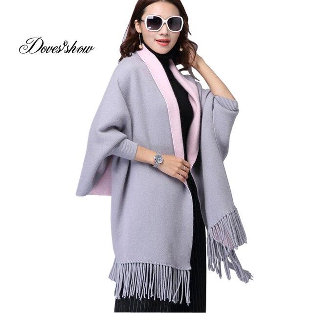 Women's Long Wool Sweaters Jacket Thick Cloak Open Stitch Tassel ...