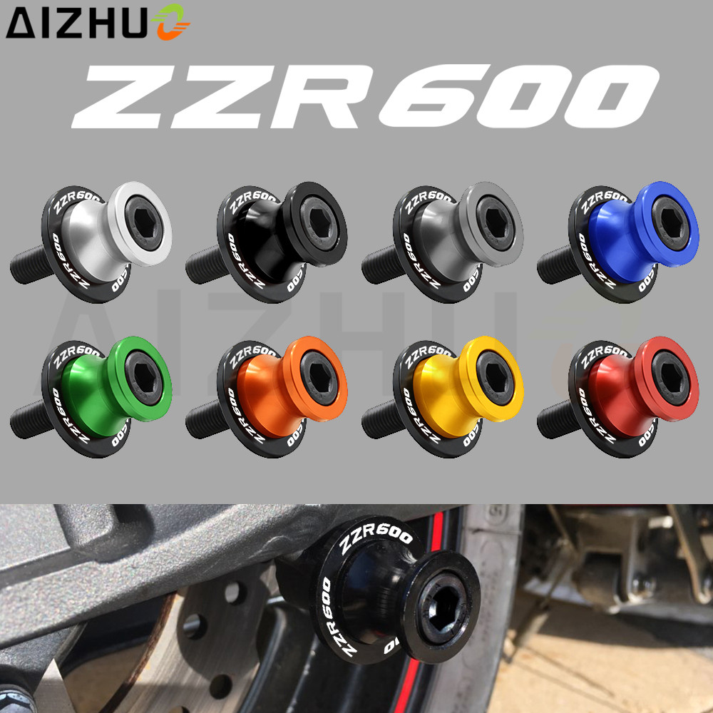 10Mm CNC Aluminum Swingarm Slider Spools Motorcycle Accessories Motorbike Stand Screws ZZR 600 LOGO For Kawasaki ZZR 600 ZZR600 motorcycle accessories cnc aluminum black swingarm spools slider stand screws for suzuki gsxr 600 750 gsxr 1100 gsx1400 01 07 g