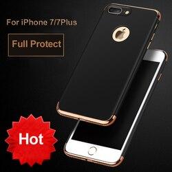 Vpower Placage 3 en 1 360 étui pour iphone 7 et iphone 7 Noir De Luxe Mince Arrière coque dure armor Pour Apple iphone 7 Couverture
