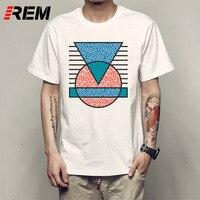 REM Print T Shirt Men Brand Clothing Geometry T Shirt Fashion Print Indie Hipster Urban Design