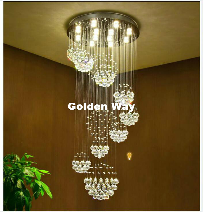 Modern Staircase K9 Crystal Chandelier Lighting D80cm H180cm Pendant Lamp Crystal Ceiling Lamp Living Room Bedroom Hanging Lamp modern crystal chandelier hanging lighting birdcage chandeliers light for living room bedroom dining room restaurant decoration