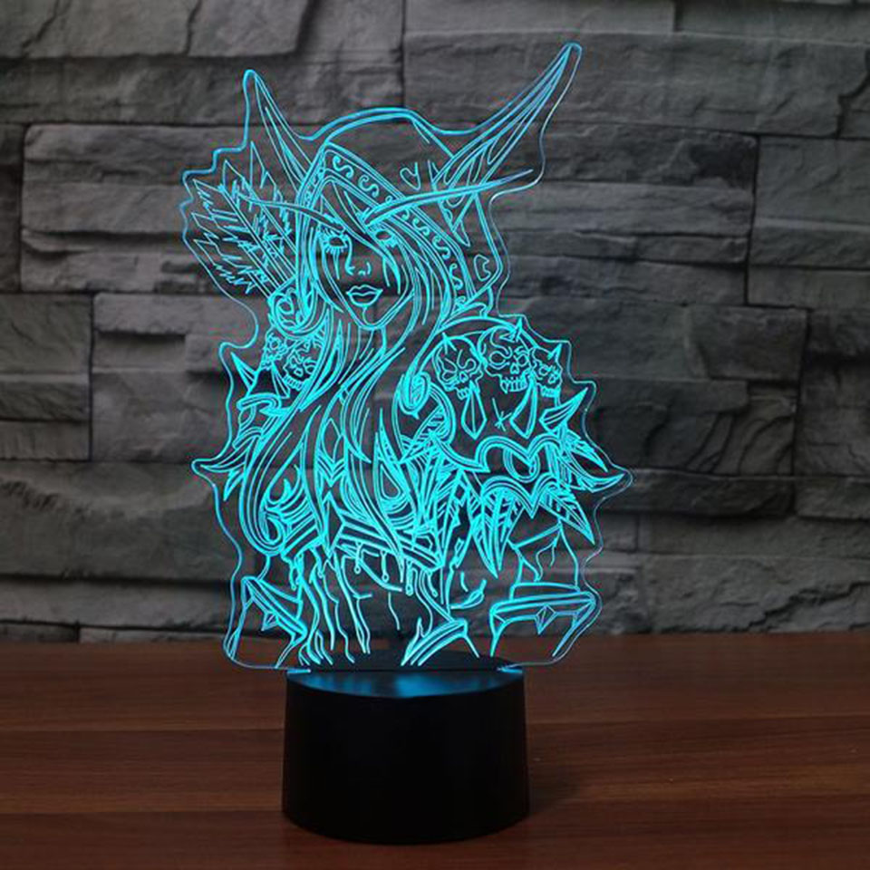 Anime Girl 3D Night Light LED Remote Touch Table Lamp 3D Lamp 7 Color Changing USB Baby Bedroom Sleeping Atmosphere lamp indians chief skull 3d night light touch switch 7 color changing led table lamp 5v usb night light home bar art decoration