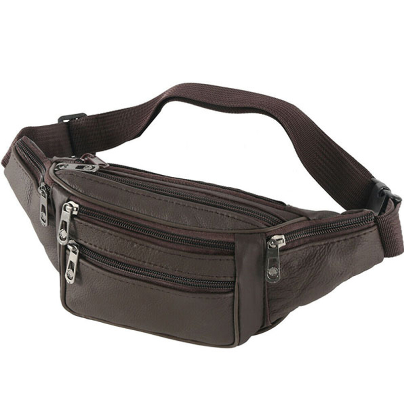 Simple Men Solid Waist Bag For Running Women Fanny Pack Luxury PU Leather Belt Bag Chest Handbag Black Color High Quality
