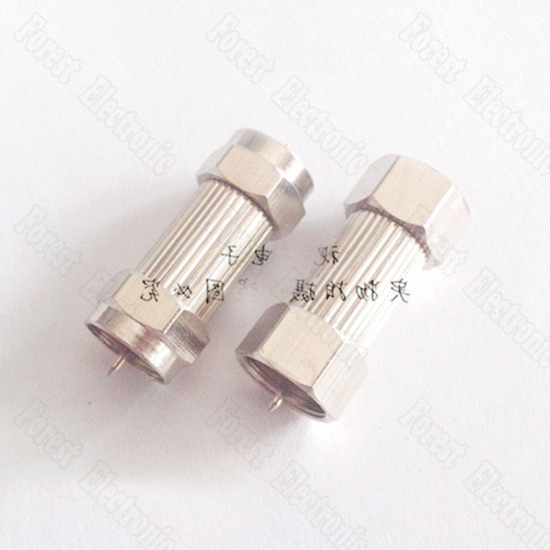 Metric&Imperial F Head Connector Male Head Double pass Connector Cable TV Connector Copper set cable tv f head do line tool extrusion f joints 75 5 stripping knife and 10 metric f head connector plug boosters