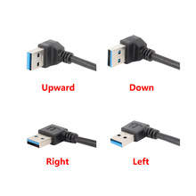 20cm USB 3.0 Right / Left /Up/Down Angle 90 Degree Extension Cable Male To Female Adapter Cord USB Cables