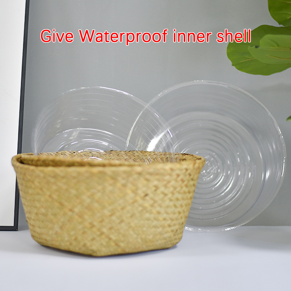 Image 5 - Wicker Baskets For Plants Foldable Natural Woven Seagrass Belly Storage Basket Wicker Rattan Baskets Flower Pots  Laundry Basket-in Flower Pots & Planters from Home & Garden