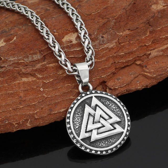 STAINLESS STEEL NORDIC VIKING VALKNUT AMULET NECKLACE