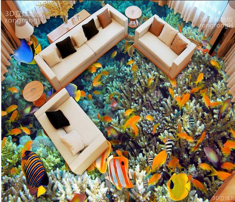 ФОТО luxury wallpaper 3d floor custom wallpaper roll vinyl flooring waterproof Seaweed Coral Dolphin self adhesive wallpaper