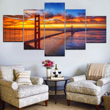 Canvas Painting Frame Modern Art Wall 5 Panel The Golden Gate Bridge Sunset Living Room Home Decoration Modular Picture Poster