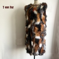 Long 100% Pure Genuine Fox Fur Vest Brand Factory Outlet Customize Real Fox Fur Gilet Natural Fur Overcaot KSR75