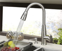 Copper Pull Type Kitchen Faucet Hot And Cold Vegetables Basin Sink Brushed Chrome
