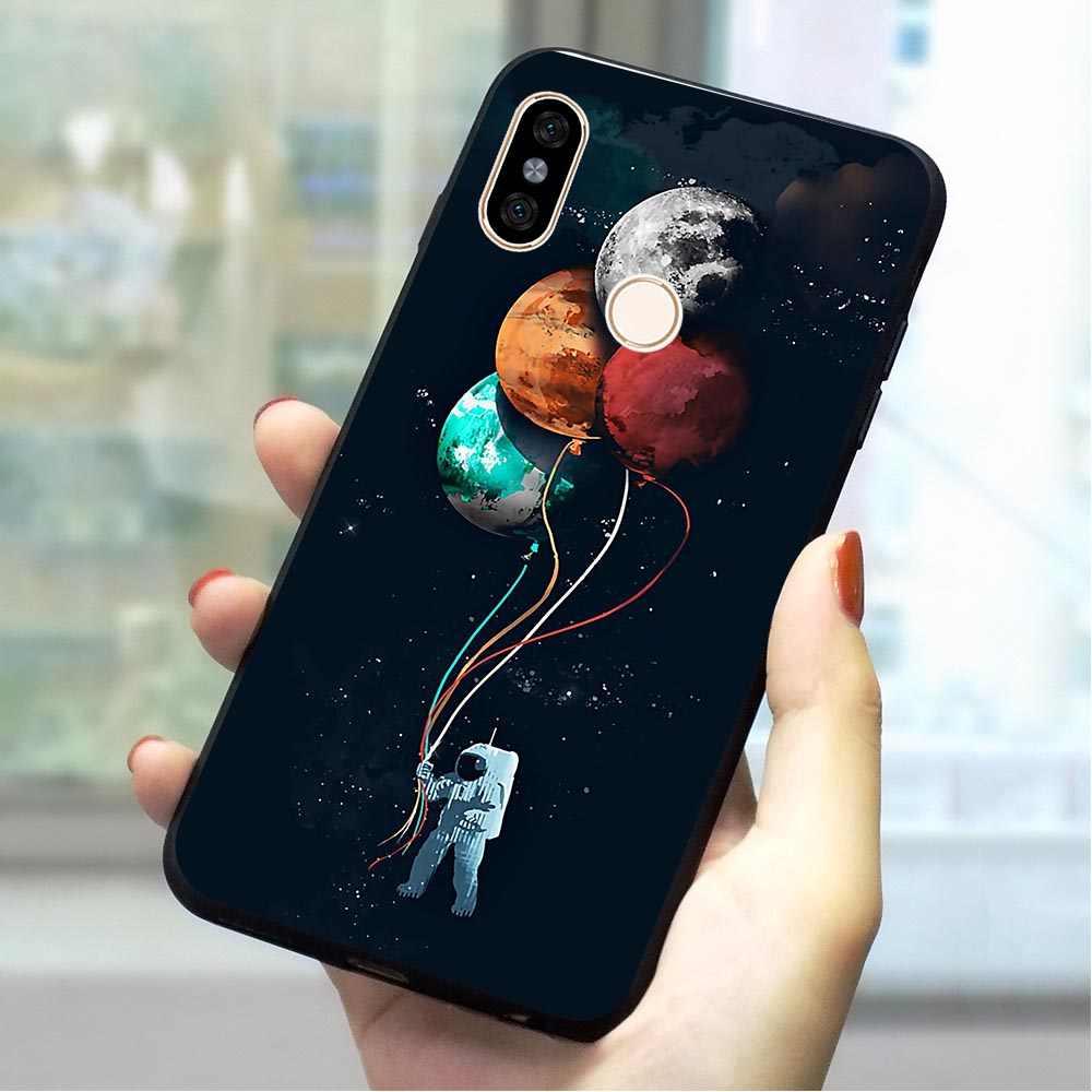 Мягкий чехол из ТПУ с изображением космической Луны и кошки для Xiaomi Redmi 4x чехол для телефона mi 4A 5 A 6A Plus 7 Go Pro Prime A1 A2 Note 8 Lite 9 se