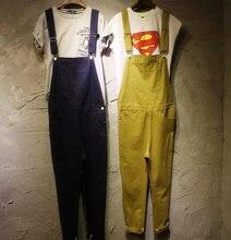 2016 Большой размер комбинезоны комбинезон женщин мужчины подростки твердых корейской хороший жан мода джинсовой одежды брюки свободного покроя рабочие брюки брюки