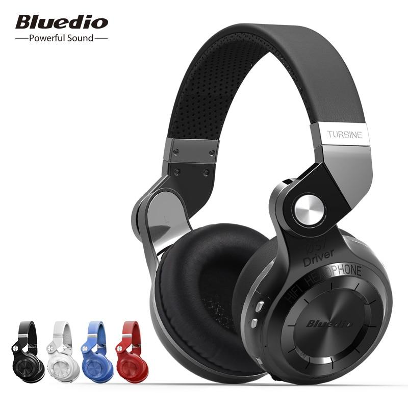 Bluedio eredeti T2S Bluetooth vezeték nélküli fejhallgató hajtogatható basszus fülhallgató mikrofonnal az okostelefon számára kényelmes viselet