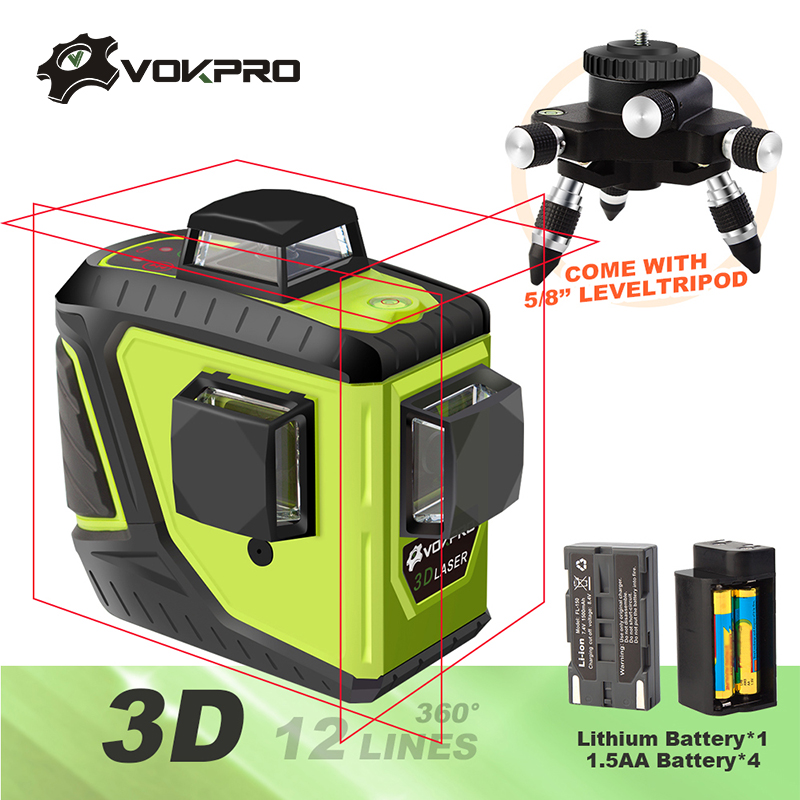 12 Lines 3D Laser Level With Lithium Battery Red Green Laser Self-Leveling 360 Horizontal & Vertical Cross Line Indoor/Outdoor