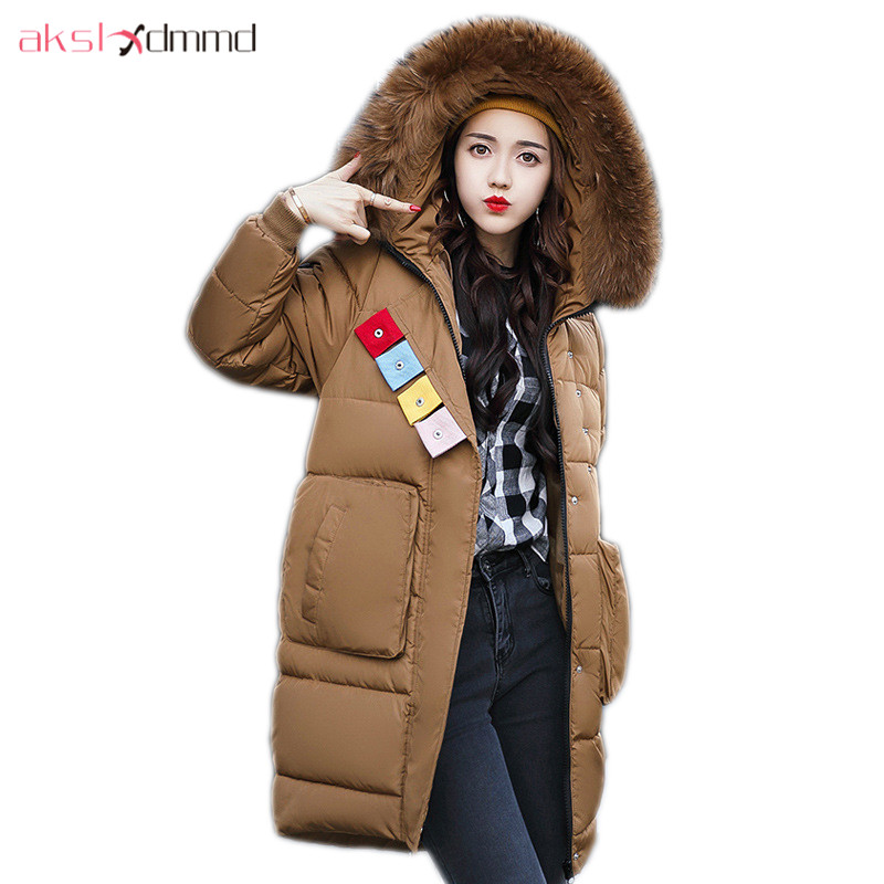 AKSLXDMMD Parkas Mujer Plus Size Women Winter Jacket 2017 New Fashion Thick Fur Collar Hooded Long Coat Female Overcoat LH1109 akslxdmmd women winter jacket 2017 new female jacekt fashion hooded printed letters thick padded woman coat parkas mujer lh1066