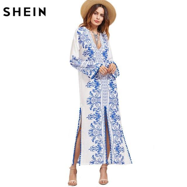 SHEIN Dames Lente Jurken 2017 Blauw en Wit Vintage Print Boho jurk Diepe V-hals Lange Mouwen Pom-pom Trim Slit Maxi Jurk