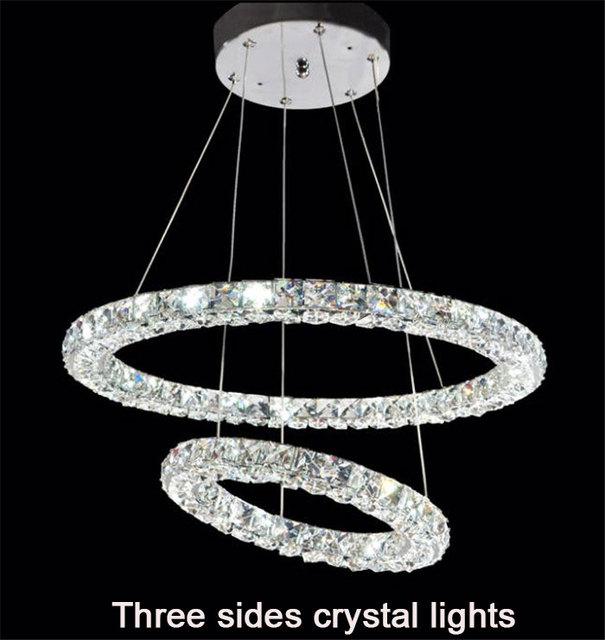 Loop duplo LED luzes de cristal moderna três lados restaurante 2 círculos diamante home lighting gravuras decorativas parágrafo sala